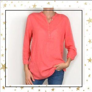 Saint Tropes West Coral linen shirt tunic blouse